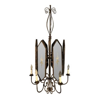 Italian Wrought Iron Mirror 6-Light Chandelier For Sale