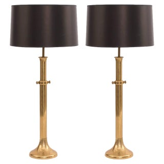 Large-Scale Patinated Brass Lamps by Warren Kessler - A Pair For Sale