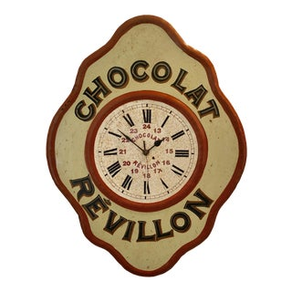 Vintage Tolework Chocolate Revillon Clock For Sale