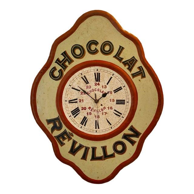 Vintage Tolework Chocolate Revillon Clock For Sale