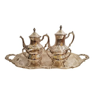 Vintage Towle Silversmiths Coffee, Tea, Cream, Sugar W/Lid and Tray Set - Set of 5 For Sale