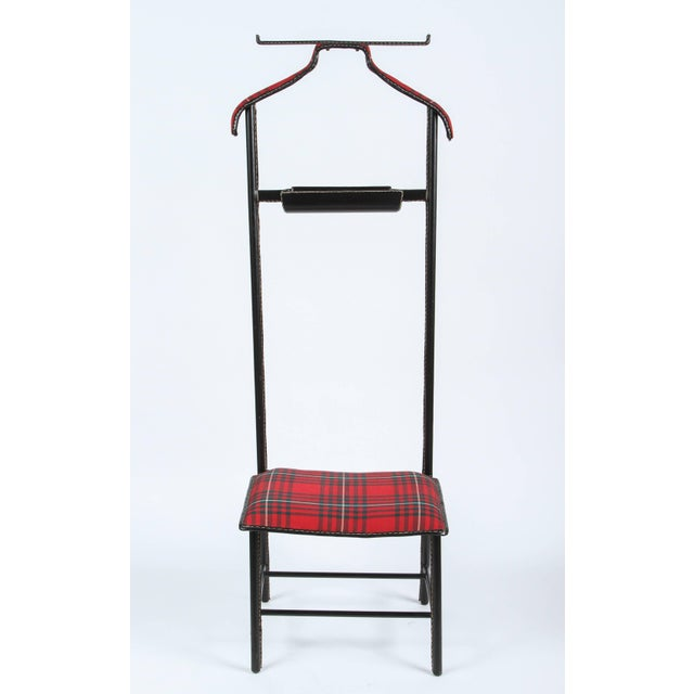 Jacques Adnet Leather Wrapped Valet With Original Tartan Plaid Wool Upholstery For Sale - Image 10 of 10
