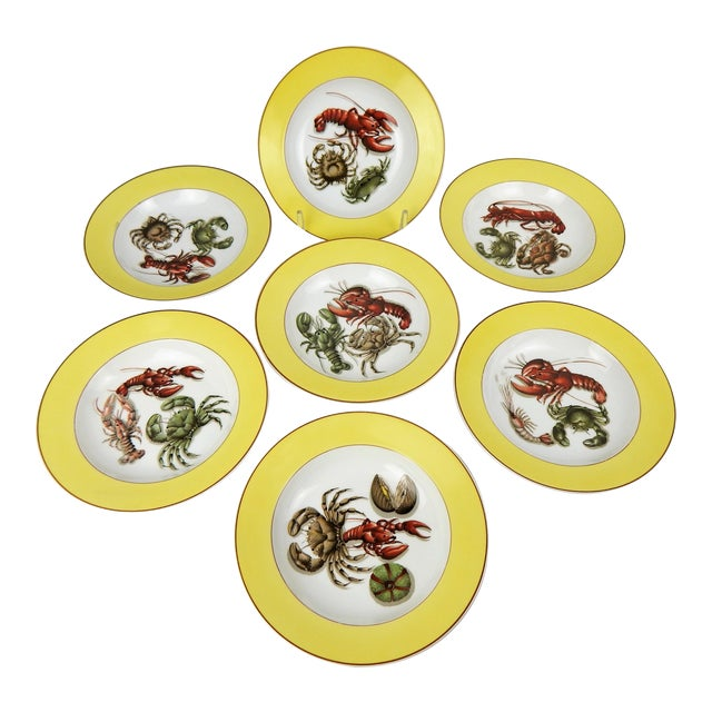 Fruits of the Sea Mottahedeh Soup Bowls, S/7 For Sale