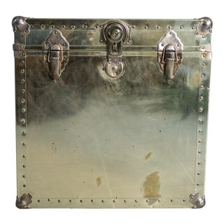 Hollywood Regency Brass Metal Trunk Side Table For Sale