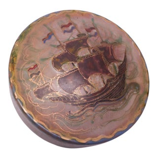 "Mid-Century Dutch Modern Enamel on Copper ""Fluyt"" Snuff / Keepsake Box For Sale"