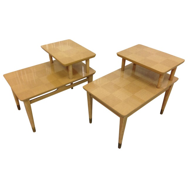 Mid-Century Modern Two-Tiered End Tables - A Pair - Image 1 of 6
