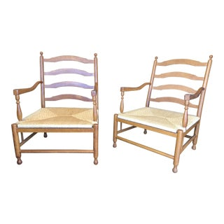 Traditional Ladder Back Rush Chairs - a Pair