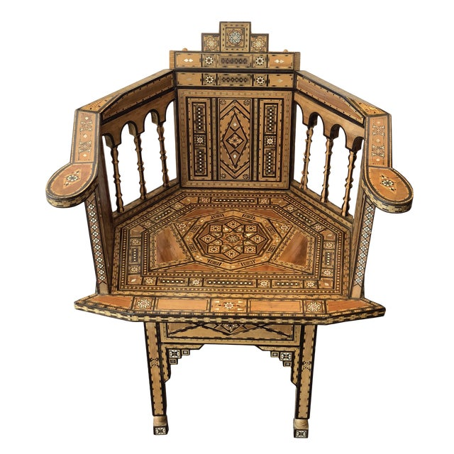 1940s Vintage Marquetry Vintage Hand Crafted Moorish Style Chair For Sale