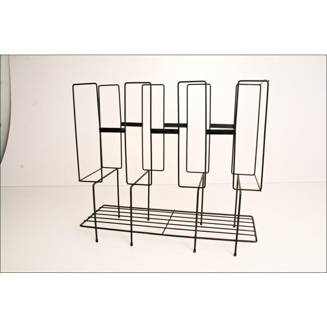 Mid-Century Modern Black Wire Record Rack For Sale - Image 11 of 11