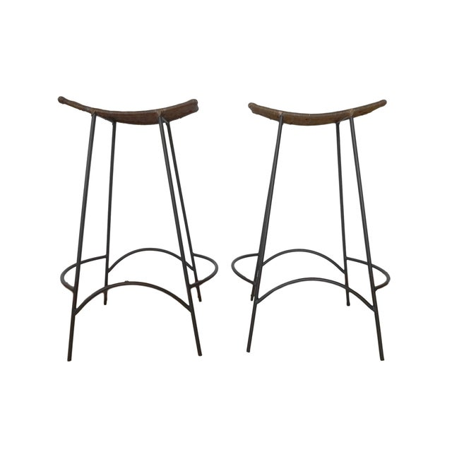 Raymor 1960s Arthur Umanoff Iron and Wicker Bar Stools - a Pair For Sale - Image 4 of 6