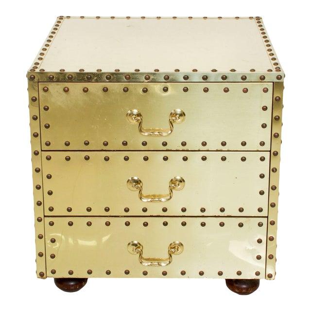 Mid-Century Sarreid Spain Studded Brass Chest Three Drawer Nightstand For Sale