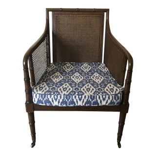 Mid-Century Faux Bamboo Cane With Blue Ikat Seat Armchair For Sale