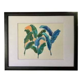 Vintage Original Pastel Drawing of Feathers Tropical Birds For Sale
