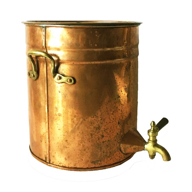 French Country Antique Copper & Brass Drink Dispenser For Sale - Image 3 of 6