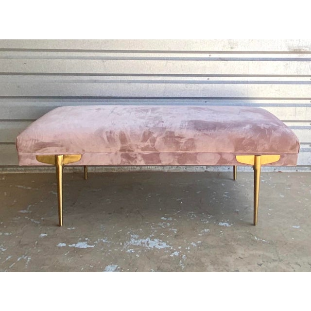 Contemporary Lavender Velvet Bench For Sale - Image 9 of 9