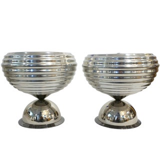 Flos 1960s Castiglioni Round Silver Tone Polished Aluminum Table Lamps - a Pair For Sale