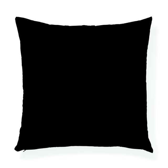 """The face of this 20"""" x 20"""" pillow features Fernarium in Green & Black paired with Black Polished Cotton in Onyx on the..."""