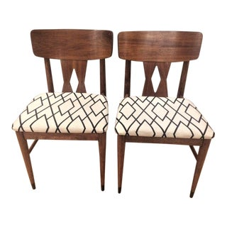 Vintage Mid-Century Diamond Back Dining Chairs - a Pair