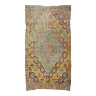 1960s Vintage Turkish Embroidered Kilim Rug - 5′11″ × 10′11″