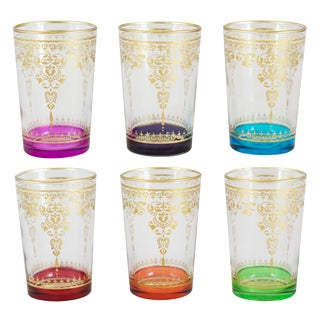 Morjana Palais Clear Mix Gold Tea Glasses - Set of 6