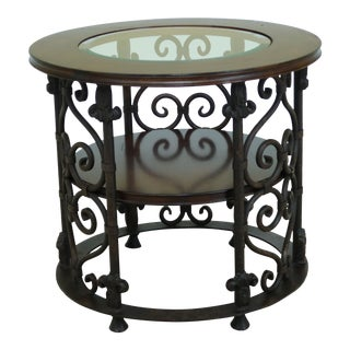 Sherrill Round Rustic Finish Glass Top Metal Base Occasional Table For Sale