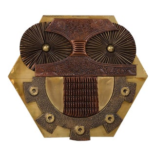 A Copper and Brass Sheet Owl Sculptural Wall Panel 1970s For Sale