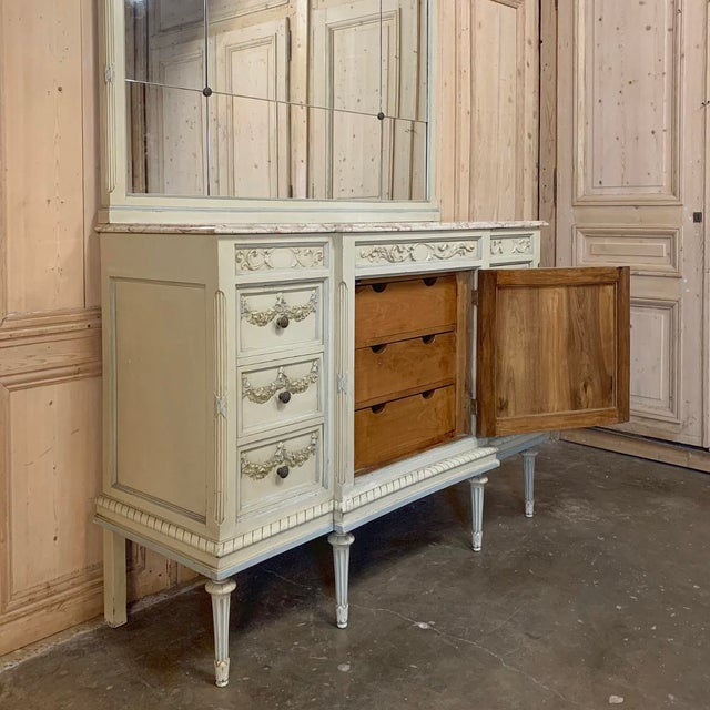 Antique Italian Louis XVI Painted Dresser ~ Linen Press For Sale - Image 12 of 13