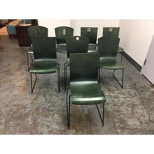 Contemporary Leland International Green Stackable Chairs - Set of 8 For Sale - Image 3 of 11