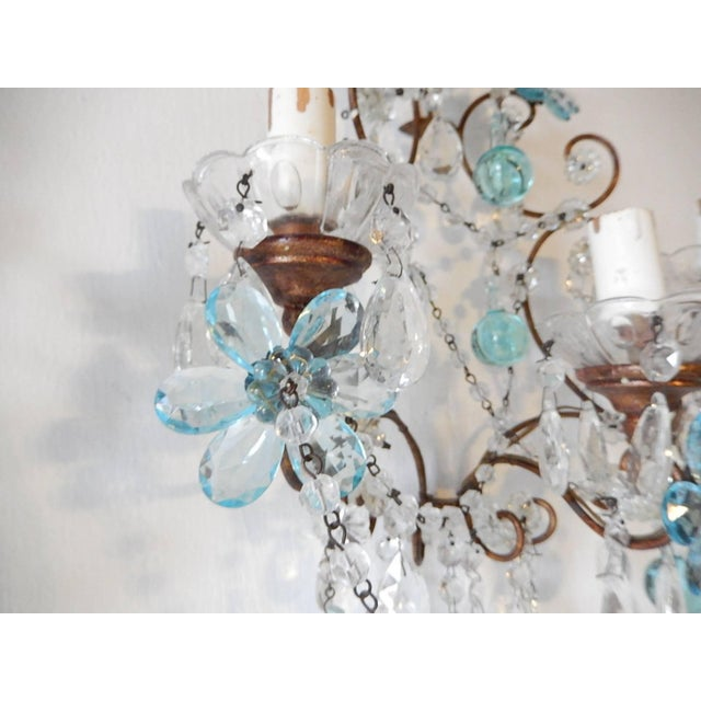Crystal French Maison Baguès Style Aqua Blue Floral Crystal Sconces, circa 1920 For Sale - Image 7 of 10