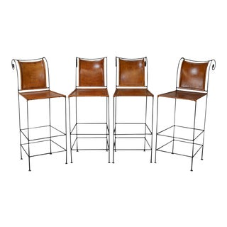 Wrought Iron & Leather Bar Stools - Set of 4