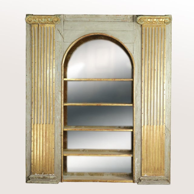 Gold 1820s Whimsical Painted Italian Architectural Element Fitted as a Bookshelf With Gilded Ionic Columns For Sale - Image 8 of 9