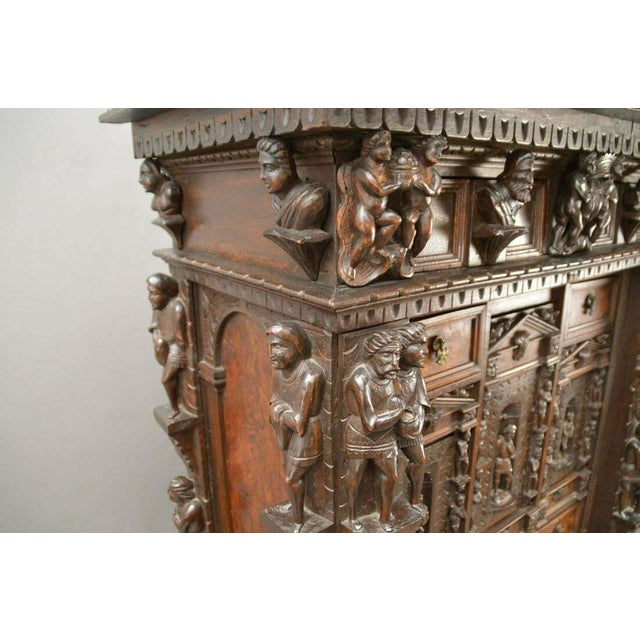 "Wood Antique Heavily Carved Continental Court Two Piece 65"" Cabinet/Cupboard For Sale - Image 7 of 13"