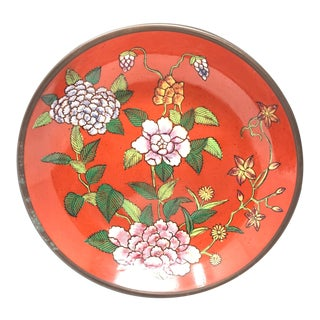 Vintage Hand Painted Persimmon Orange Floral Porcelain & Brass Catchall Bowl For Sale