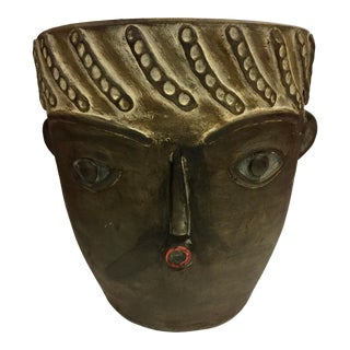 Spanish Picassoesque Face Pot Planter For Sale