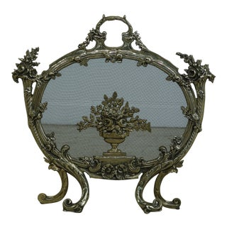 French Style Heavy Solid Brass Fire Screen For Sale