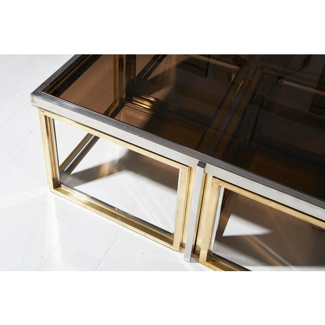 Maison Charles Maison Charles, Paris, Large Brass and Chrome Square Coffee Table For Sale - Image 4 of 8