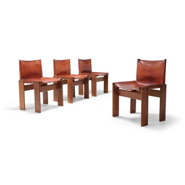 Scarpa 'Monk' Chairs in Patinated Cognac Leather, Set of Four For Sale - Image 11 of 11