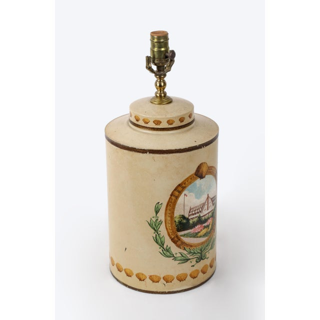 English Hand Painted Hotel Landscape Design Tea Caddy Lamp For Sale - Image 3 of 10