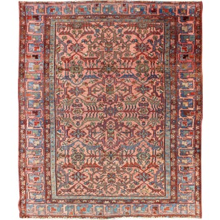 Antique Serapi Rug / Bakhshaish Rug With Salmon Background Light Blue Border in All Over Geometric Design For Sale