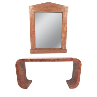 Vintage Maitland-Smith Marble Console Table With Hall Mirror For Sale