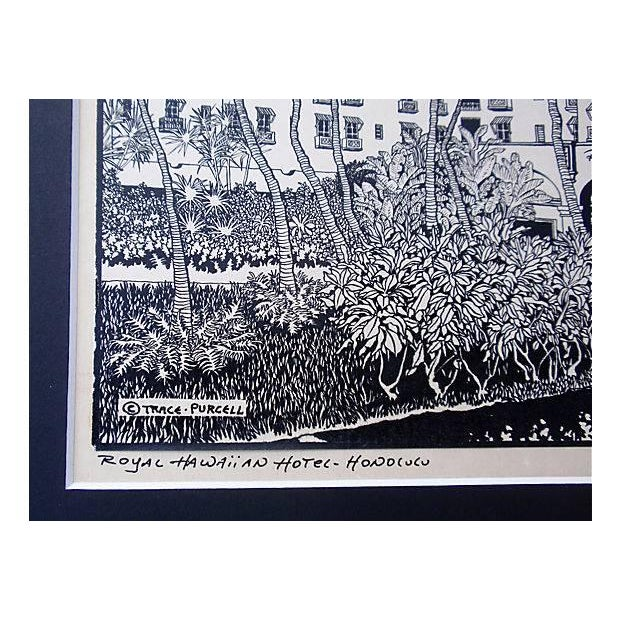 Modern Royal Hawaiian Hotel Woodblock Print Trace Purcell For Sale - Image 3 of 4