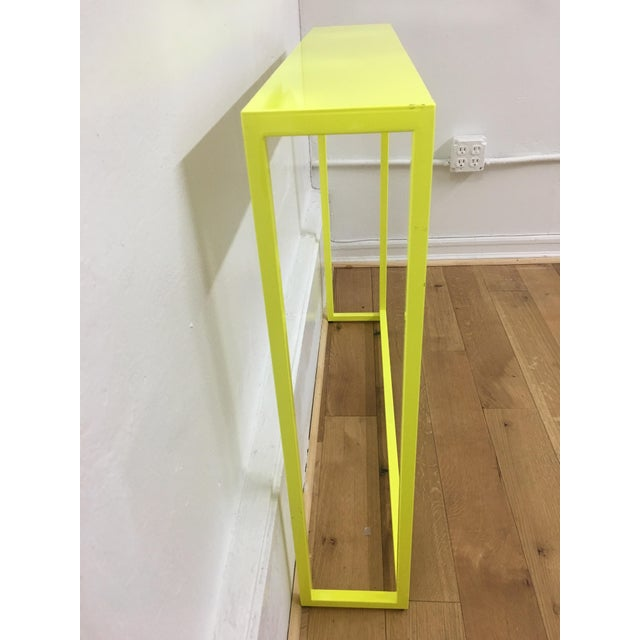 Contemporary Contemporary Fluorescent Yellow Powder-Coated Metal Console Table For Sale - Image 3 of 8