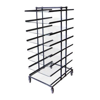 Eight Glass Black Shelf Storage Unit For Sale