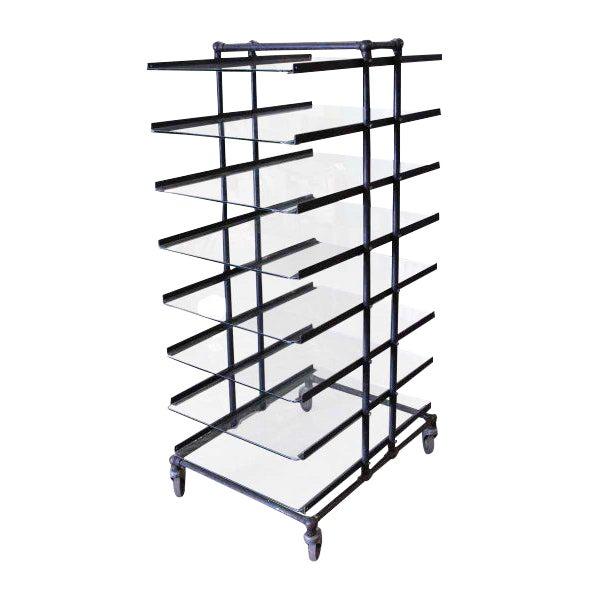 Eight Glass Black Shelf Storage Unit For Sale