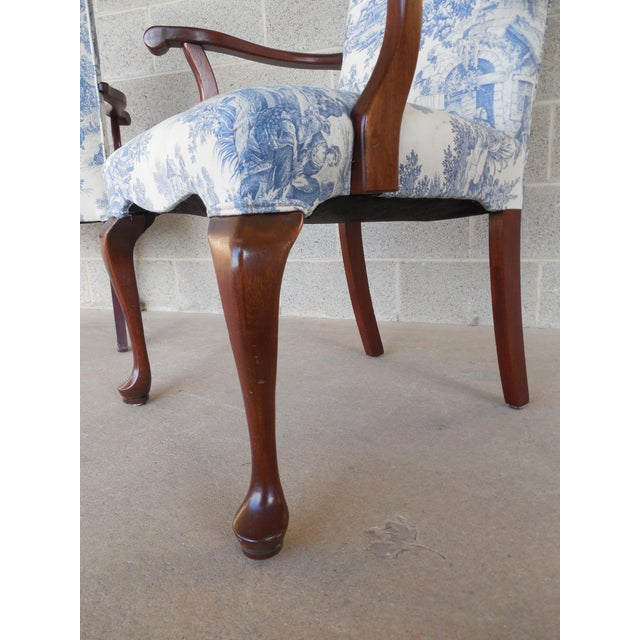 Blue Toile Arm Chairs - A Pair - Image 8 of 10