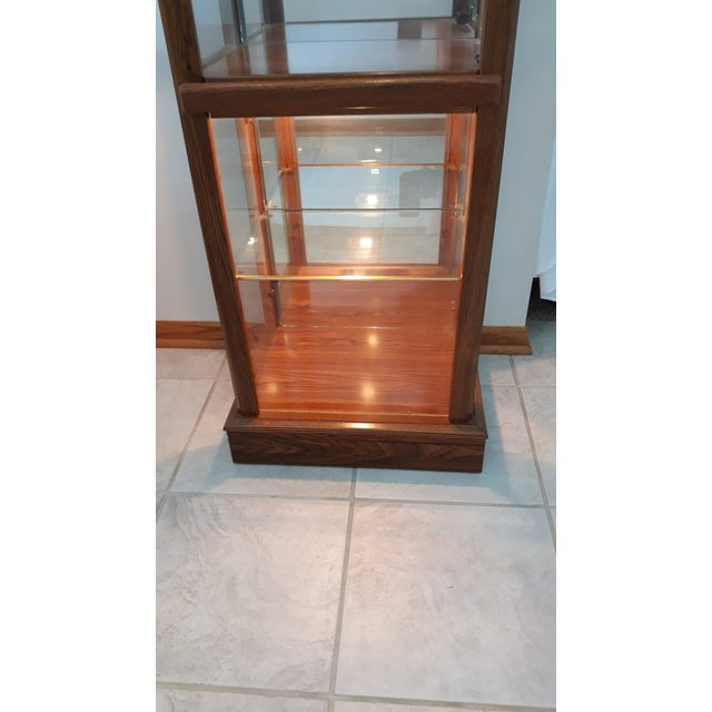 Brown Rectangular Wood & Glass Curio Cabinet For Sale - Image 8 of 9