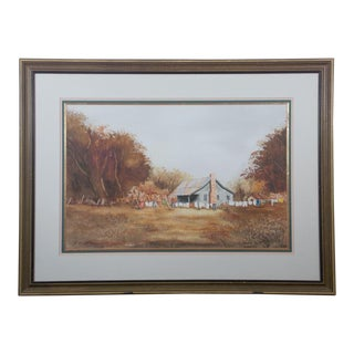 Late 20th Century Gene Pollock Country House With Cloths Hanging Watercolor Painting For Sale