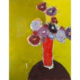 "Image of ""Brown Table"" Abstract Floral Oil on Canvas Painting by Bill Tansey For Sale"