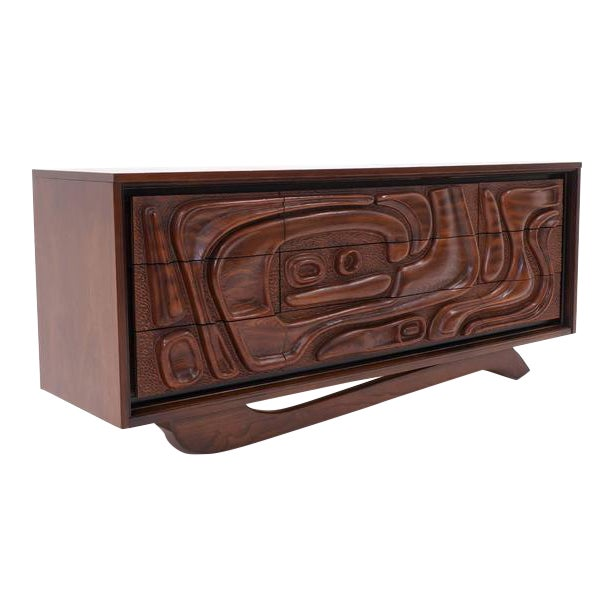 Witco Carved Front Walnut Cabinet / Credenza in the Style of Philip Lloyd Powell For Sale