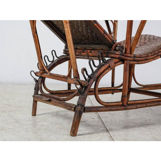 Brown Adjustable Bamboo and Rattan Garden Chaise, Germany, 1920s-1930s For Sale - Image 8 of 10